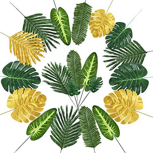 Auihiay 60 Stück 9 Arten künstliche Palmenblätter mit Stielen, goldene Dschungelblätter, hawaiianische Party-Dekorationen für Tropische Luau-Party-Dekorationen