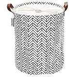 Sea Team - Cesto de lavandería con diseño de Flechas, cesto de lavandería Tela Lona, contenedor Almacenamiento Plegable con Asas de Cuero sintético y Cierre cordón, 50 x 40 cm, Interior Impermeable