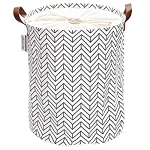 Sea Team Laundry Hamper Canvas Fabric Laundry Basket Collapsible Storage Bin with PU Leather Handles and Drawstring Closure