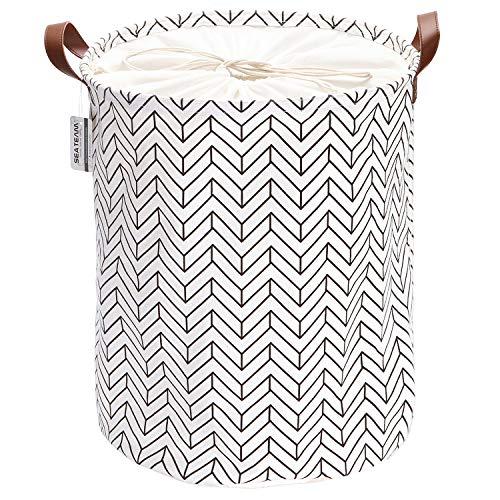 Sea Team Marokkanisches Gittermuster Wäschesammler Leinenstoff Wäschekorb Faltbarer Aufbewahrungskorb mit PU-Ledergriffen und Kordelzug-Verschluss, 50 x 40 cm, wasserdichte Innenseite