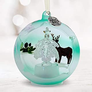 BANBERRY DESIGNS 2019 LED Glass Ball Christmas Ornament - Reindeer, Bunny, and Xmas Tree Hand Painted Design - White Glitter Painted Snow - 3 ½ Inch Diam.