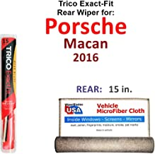 Rear Wiper Blade for 2016 Porsche Macan Trico Exact Fit Bundled with MicroFiber Interior Car Cloth