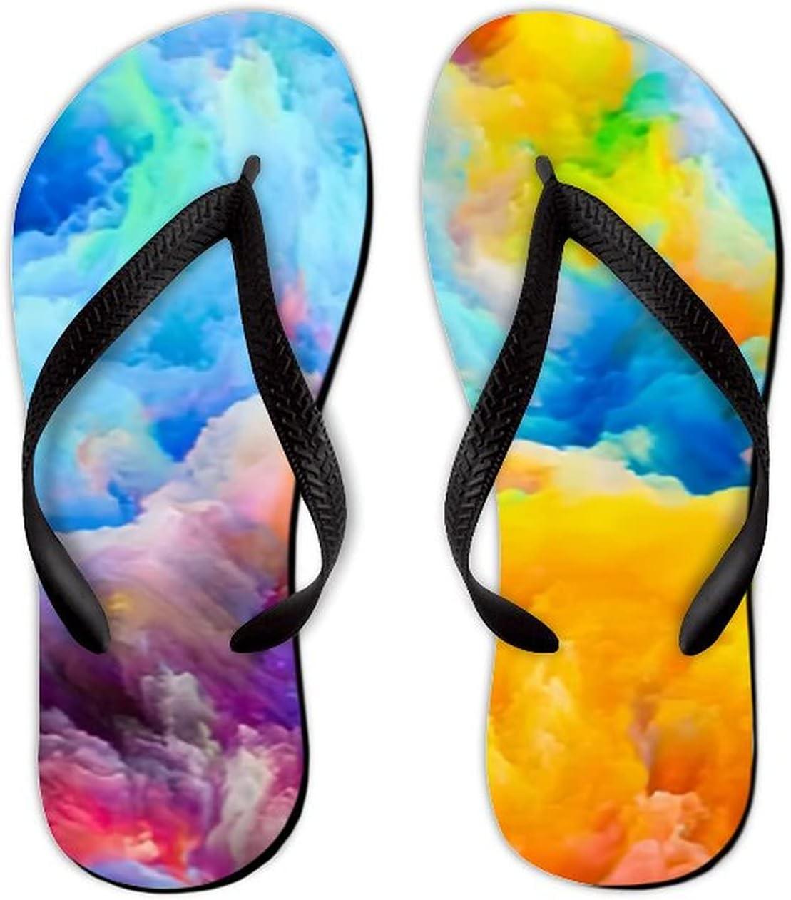 Summer Flip Flops for Men Women Colors Composition Colorful Soft Lightweight Non Slip Sandals for Shower Beach Pool Bathroom Flat 11.5