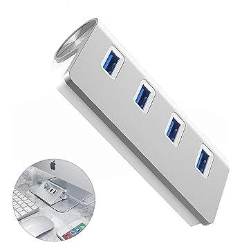Fitfirst Divisor Hub USB 3.0 de 4 Puertos -Concentrador USB de Aluminio - USB Adaptador para PC y Mac y Portátil Tableta - PS4 y Xbox- Sin Controladores