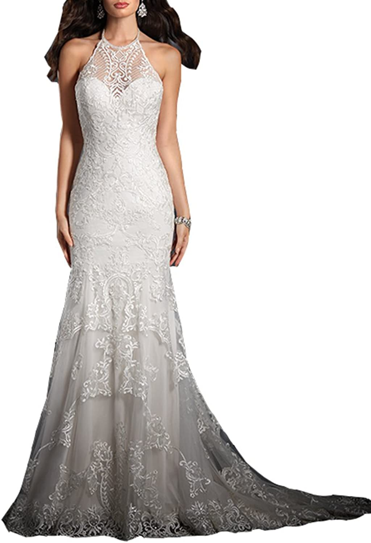 Ikerenwedding Women's Halter Lace Applique Backless Mermaid Wedding Dress