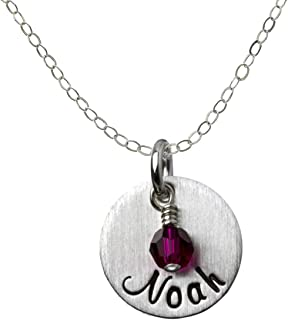 AJ's Collection My Joy Personalized Sterling Silver Name Necklace. Customize with Your Choice of Characters. Matted Finish Includes 925 Chain and Swarovski Birthstone. Gifts for Her, Mother, Wife