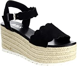 Emma Women Scallop Edged Single Band Espadrilles Platform Sandal Ankle Strap