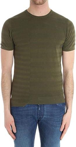 Paolo Pecora Homme A049F3015407 Vert Lin T-Shirt
