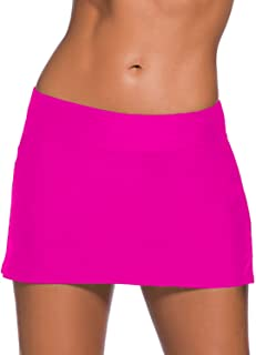 EVALESS Women's Solid Color Waistband Skirted Bikini Bottom Swimdress[S-XXXXL]