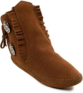 Minnetonka Mens Two Button Softsole Boot, Brown, Size 8