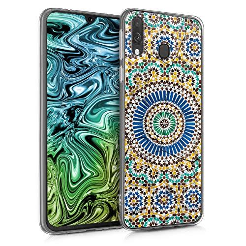 kwmobile Hülle kompatibel mit Samsung Galaxy A40 - Handyhülle - Handy Case Marokkanische Fliesen rund Blau Orange Türkis
