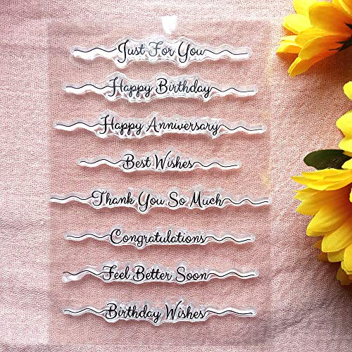 GAWEI Home Crafts Words Just for You Happy Birthday Best Wishes Congratulations Clear Stamps for Card Making Decoration and DIY Scrapbooking