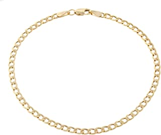 18K Solid Yellow Gold 3.5mm Cuban Curb Link Chain...