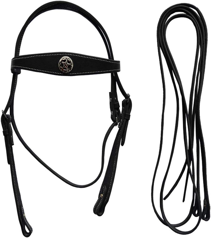 PAHRU Leather Bridle cowhide material durable Nonslip Horse Bridle Adjustable size (set  Bridle+ reins)