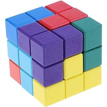 賢人パズル 木製パズル 積み上げブロック 3Dキューブ ブレインゲーム テトリスパズル 幼児向け 早期教育玩具 形・色認識