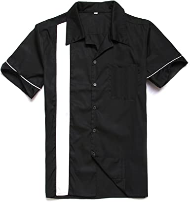 Candow Look 50s Negro Cotton Men Camisas Rockabilly worktshirts