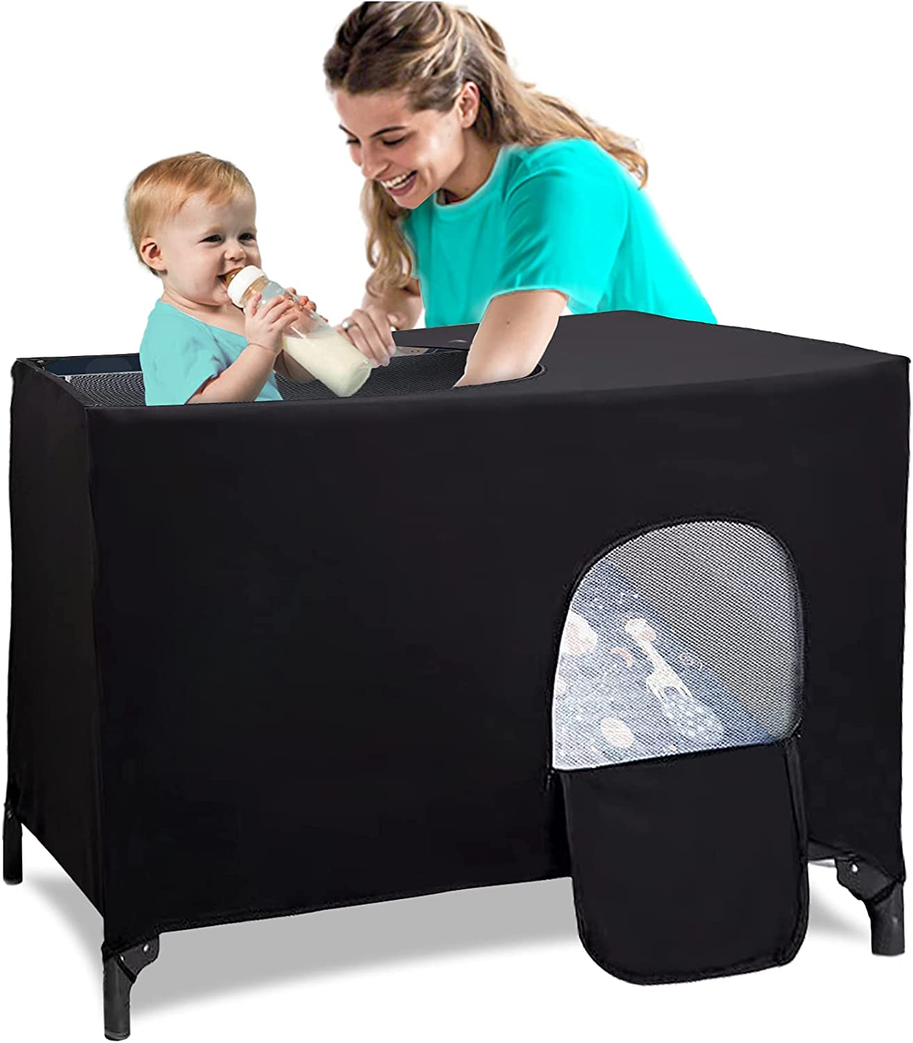 Blackout Cover for Pack N Play, Stretchy Breathable Travel Crib Canopy for Playard, Baby Darkening Crib Tent and Shade for Safeguard Indoor or Outdoor Sleeping, Playing, Napping