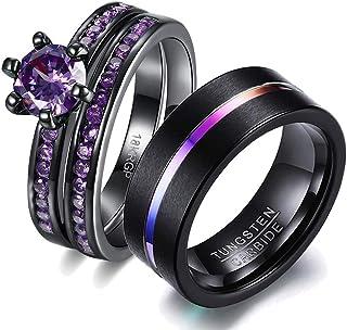 wedding ring set His Hers Couples Matching Rings Women's 18k Black Gold Filled Violet CZ Wedding Engagement Ring Bridal Se...