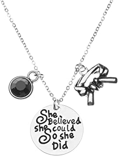 Martial Arts Necklace, She Believed She Could So She Did Black Belt Keychain, Martial Arts Gift