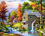 Runfar 5D Diamond Painting Kits for Adults Full Drill Village Square Rhinestone Embroidery Dotz Craft Cross Stich Gift Home Decor Large Size 40x50cm/16x20inch