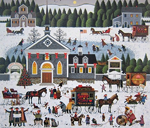 Charles Wysocki Churchyard Christmas Signed and Numbered with Certificate Image Size :15 3/8