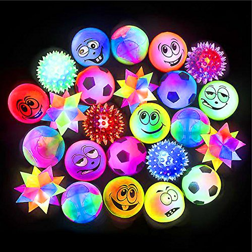 German Trendseller® - 6 x LED Springball Mix┃ 6 cm ┃ Blinklicht ┃Flummiball ┃ Kindergeburtstag
