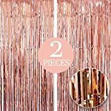 Xtra Large, Rose Gold Fringe Curtain - 6.4 x 10 Feet, Pack of 2 Rose Gold Party Decorations | Rose Gold Birthday Decorations | Metallic Rose Gold Streamers | Rose Gold Backdrop for Bachelorette Party