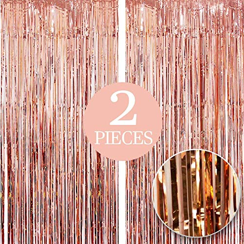 Xtra Large, Rose Gold Fringe Curtain - 3.2 x 10 Feet | Pack of 2, Rose Gold Backdrop Curtain | Rose Gold Streamers Party Decorations | Rose Gold Metallic Tinsel Foil Fringe Curtains for Birthday Party
