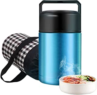 Food Thermos,Flantor Food Jar 33oz Vacuum Insulated Stainless Lunch Thermos with Luch Bag,BPA Free Lunch Box with Handle Lid,Leak Proof Double Wall Vacuum Insulated Soup Container (Blue))