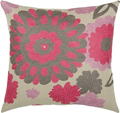 Rizzy Home T-3483 Decorative Pillows, 18 by 18-Inch, Pink/Gray