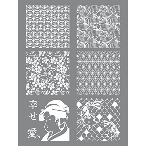 Stencil Giappone argilla polimerica 11,4 x 15,3 cm