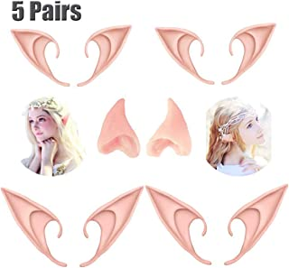 CAhomer 5 Pairs Latex Elf Ear Pixie Dress Up Costume Soft Pointed Goblin Ears Cosplay Halloween Party Props Elven Vampire Fairy Ears