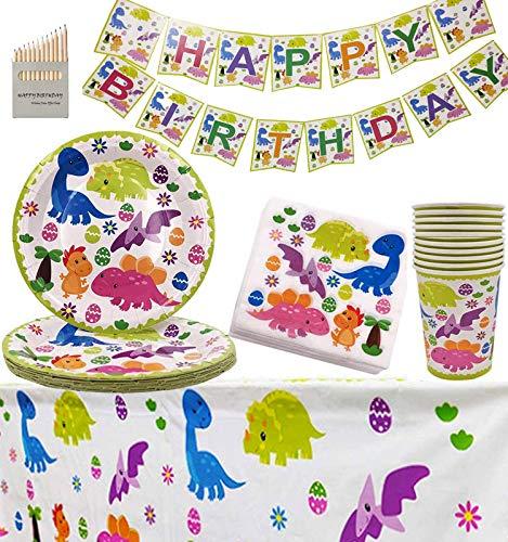 Fiesta de Dinosaurios para niños Celebración de cumpleaños Decoración de Fiesta con temática de Dinosaurios para 16 - Platos Dino Platos Servilletas Mantel Banner