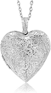 Locket Pendant Necklace Charm 1.5inches Engraved Flowers Heart Shape + 28 Inch Chain