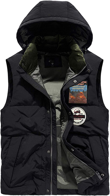 Snhpk Men's 100%Down Vest Outerwear Gilets Coat Softshell Jacket, Winter Thicken Warm Windproof Overcoat Waistcoat,Black,XL