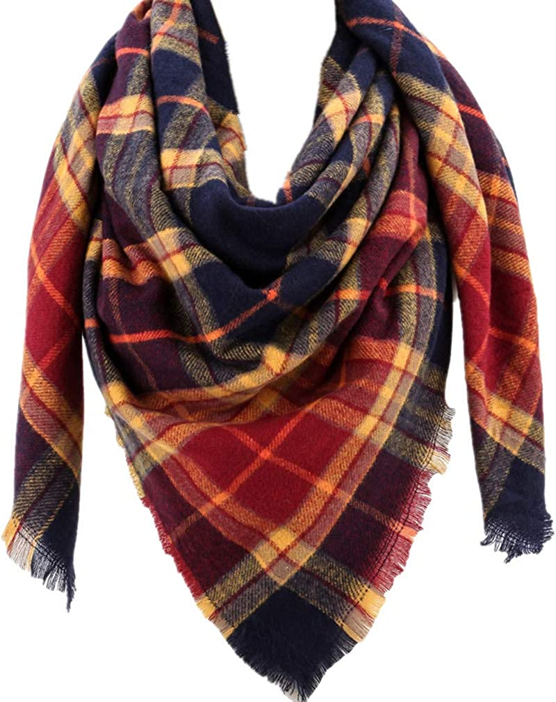 Clearance SALE! Limited time! Large Soft Plaid Scarf Women Winter Indefinitely Blanket Knit Cashmere