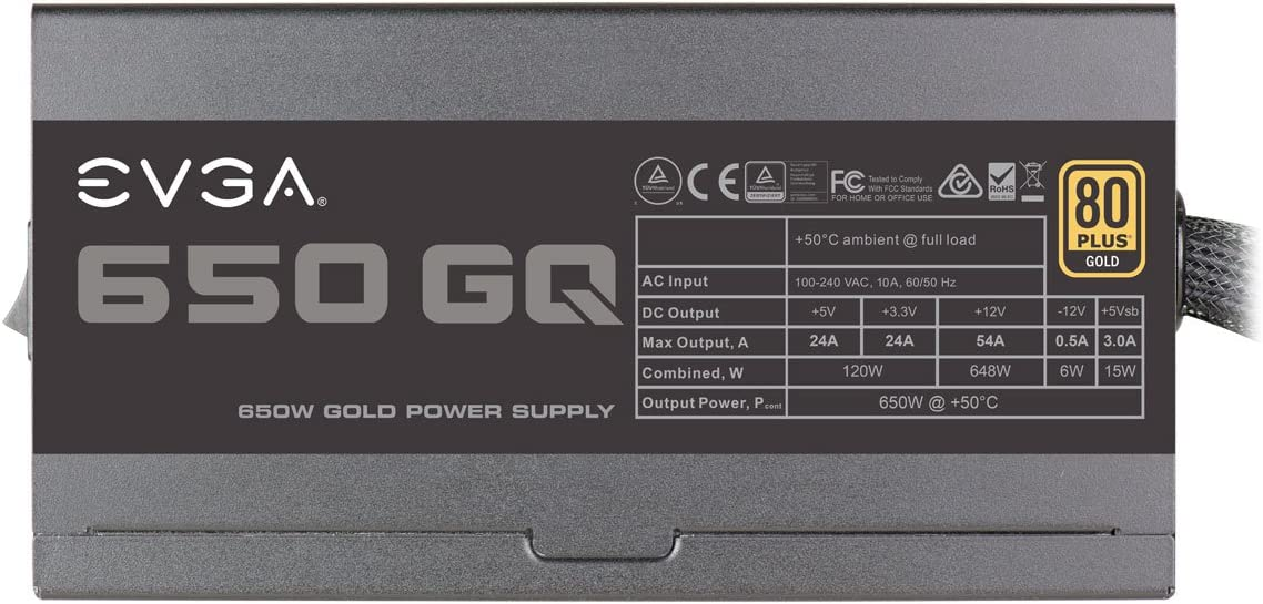 EVGA 650 GQ, 80+ GOLD 650W, Semi Modular, EVGA ECO Mode, Fuente de Alimentación 210-GQ-0650-V2