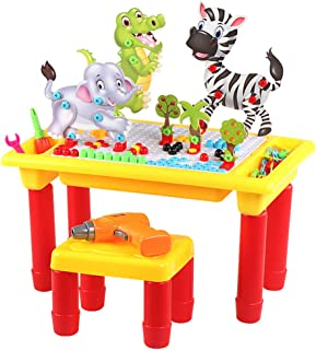 BIRANCO. Learning & Activity Block Table - Building Set with Storage, Drill Tool Plus 1 Toddler Chair STEM Toys for Kids Age 3, 4, 5, 6 Years Old