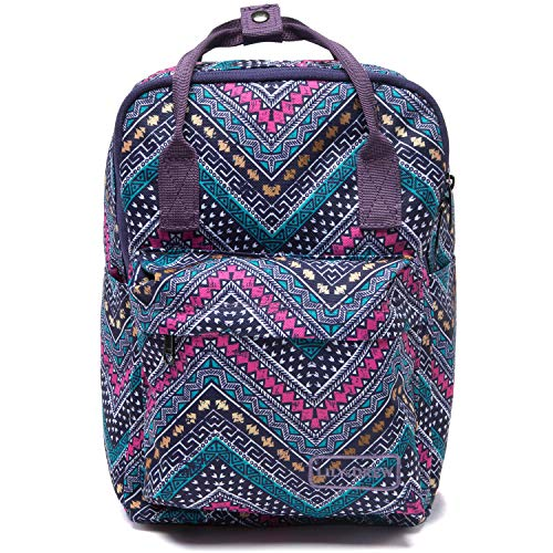Lily & Drew Small Casual Lightweight Mini Travel Backpack Purse with Top Handles Waterproof for Women (Poly-Aztec Zigzag)