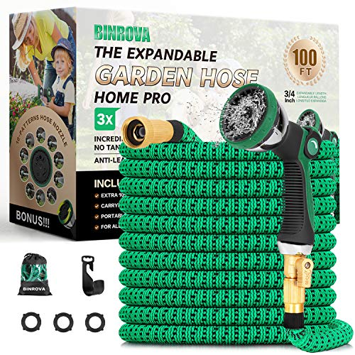 """BINROVA Expandable Garden Hose 100ft-Water Hose with 10 Function Spray Nozzle-Durable 4-Layers Latex and 3/4"""" Solid Brass Fitting Extra Strength 3750D Flexible Lightweight No Kink Hose Pipe"""