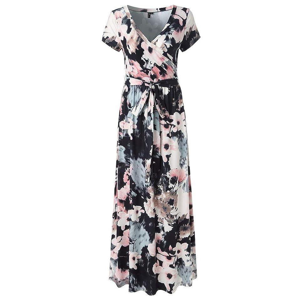 TOTOD Women Dress Short Sleeve V Neck Floral Print Long Maxi Evening Party Dresses