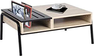 Tavolino da caffè, tavolino con ripiano, tavolo da salotto con mobili in stile industriale, soggiorno in rovere nero