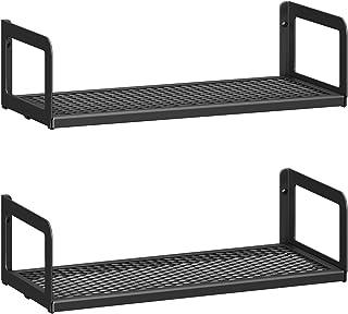 SONGMICS Juego de 2 estantes de pared, estantes flotantes de metal, panel de malla, para marcos de fotos, baratijas en la ...
