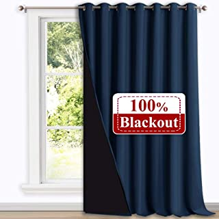 NICETOWN 100% Blackout Patio Sliding Door Curtain, Wide Lined Drape, Keep Warm Drapery, Sliding Glass Door Panel for Night Shift (Navy Blue, 1 Panel, 100 inches Wide x 108 inches Long