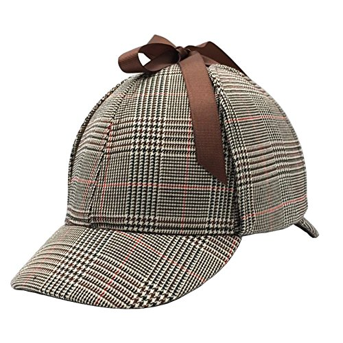 Sherlock Holmes Hat,Deerstalker Hat Classic Cos Play for Adults and Children, Red, Medium