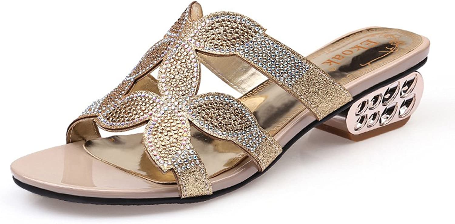 GenePeg Women's Heeled Sandals Floral Rhinestone Cut-Outs Chunky shoes