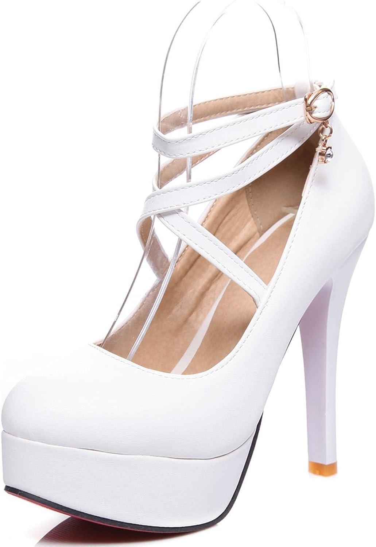 KingRover Women's PU Cross Buckle Strap Ultr High Heels Platform Pumps shoes
