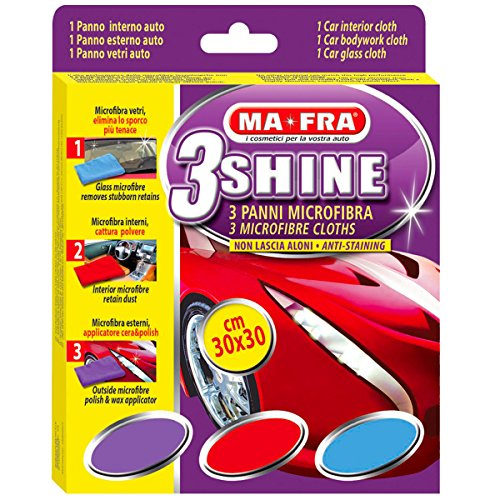 3 panni in microfibra per la cura dell'auto MA-FRA SHINE 3