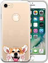 FINCIBO Case Compatible with Apple iPhone 7 2016 / iPhone 8 2017 4.7 inch, Clear Transparent TPU Protector Case Cover Soft Gel for iPhone 7/8 (NOT FIT 7 Plus, 8 Plus) - Red Pembroke Welsh Corgi Dog