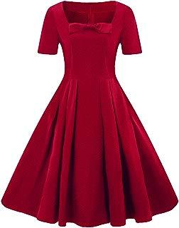Ez-sofei Women's Vintage 1940s Square Neck Bowknot Party Swing Tea Dress